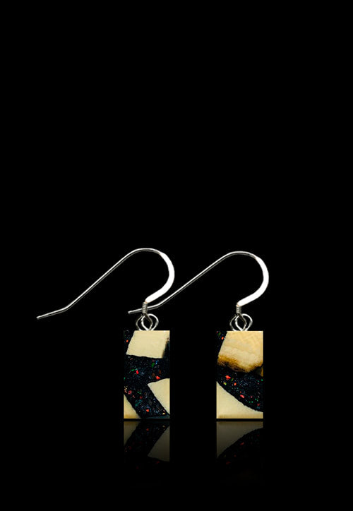 Deepspace Black - Mammoth/ Ammolite Flake Earrings-Rectangular