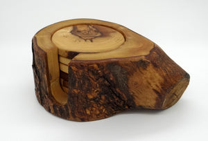 Olive Wood - 6 Coaster Set with Holder