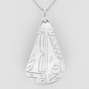 Hummingbird Teardrop Necklace-Sterling Silver