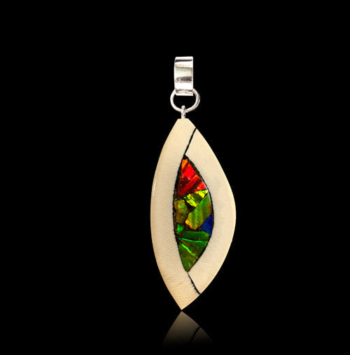 Ammolite & Mammoth Ivory Pendant Necklace (Yuka)