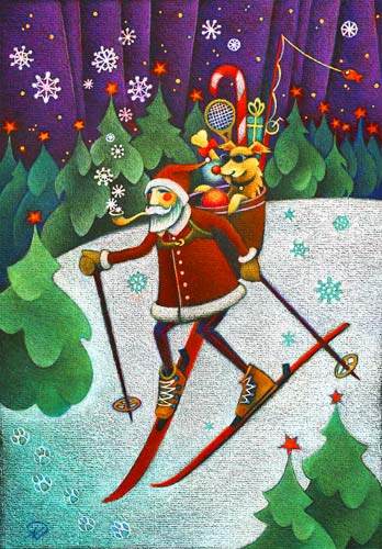 Downhill Dog Christmas Art Card