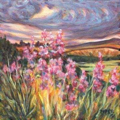 Swirling Skies and Fireweed, Yukon Print