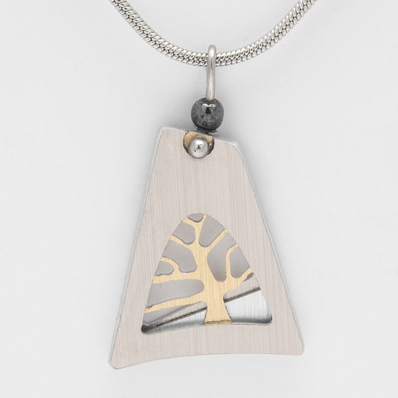 Brushed Aluminium Necklace - Small Gold Tree in Irregular Triangle
