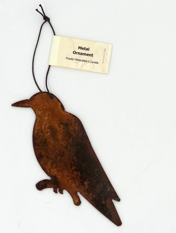 Rusted Metal Crow Ornament
