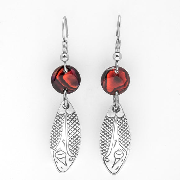 Hummingbird Earrings with Red Shells
