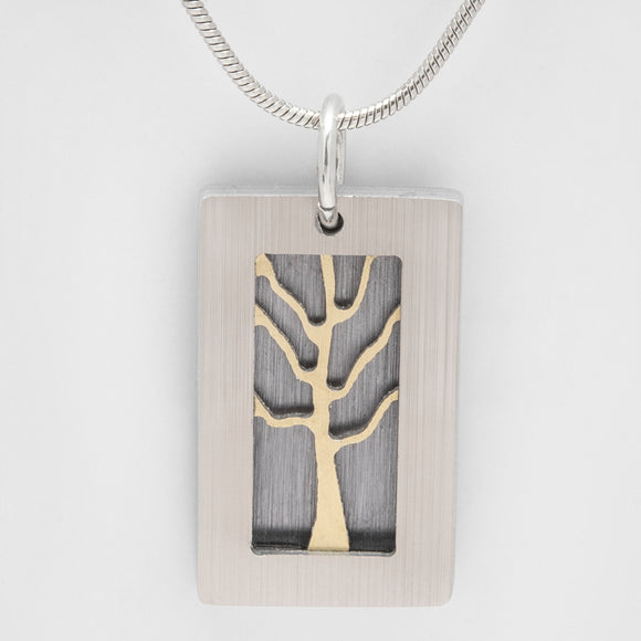 Brushed Aluminium Necklace - Gold tree with Rectangular Frame