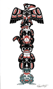 Four Clans Totem: Crow, Wolf, Frog and Bear