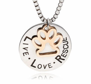 """LIVE LOVE RESCUE"" Necklace and Pendant - - SmarchPawz#"