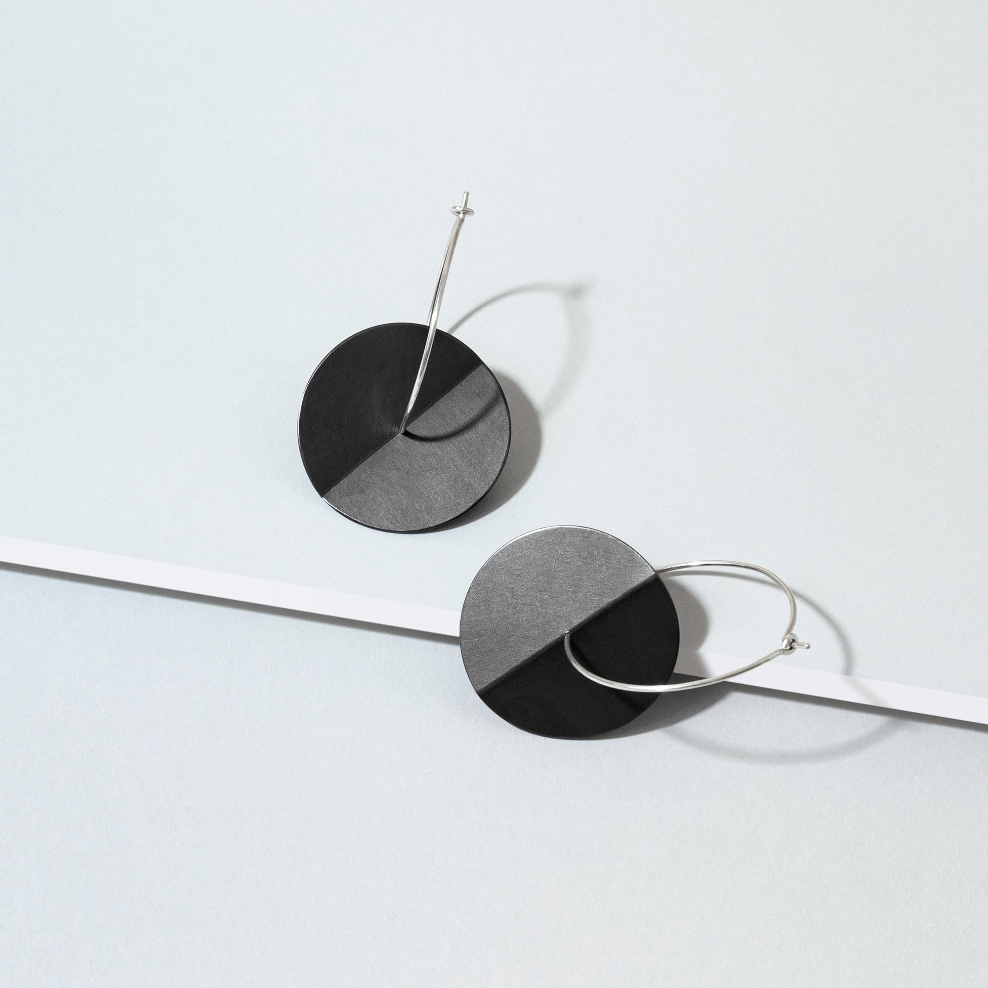 Fold Earrings - Oxidised