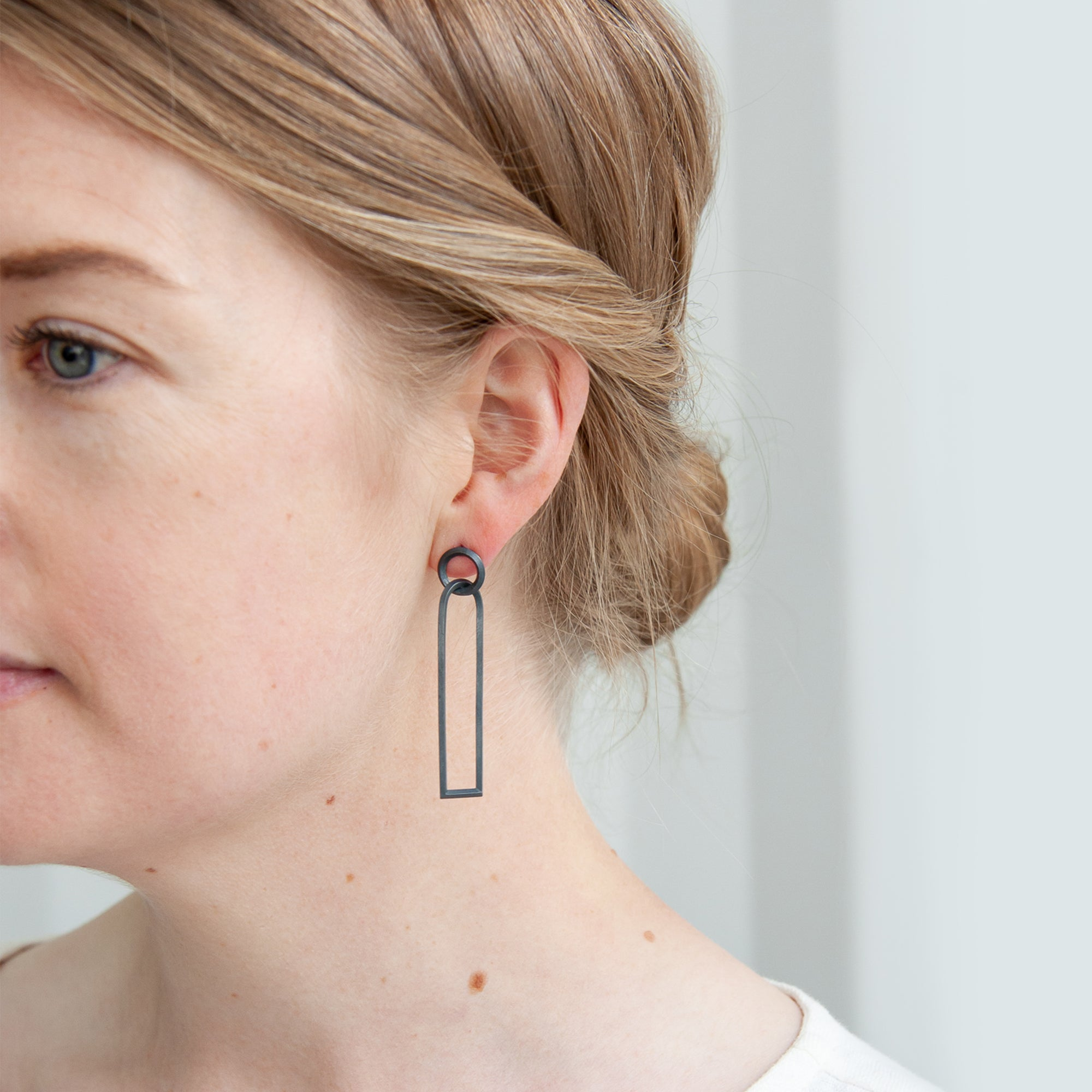 Long Link Earrings - Oxidised