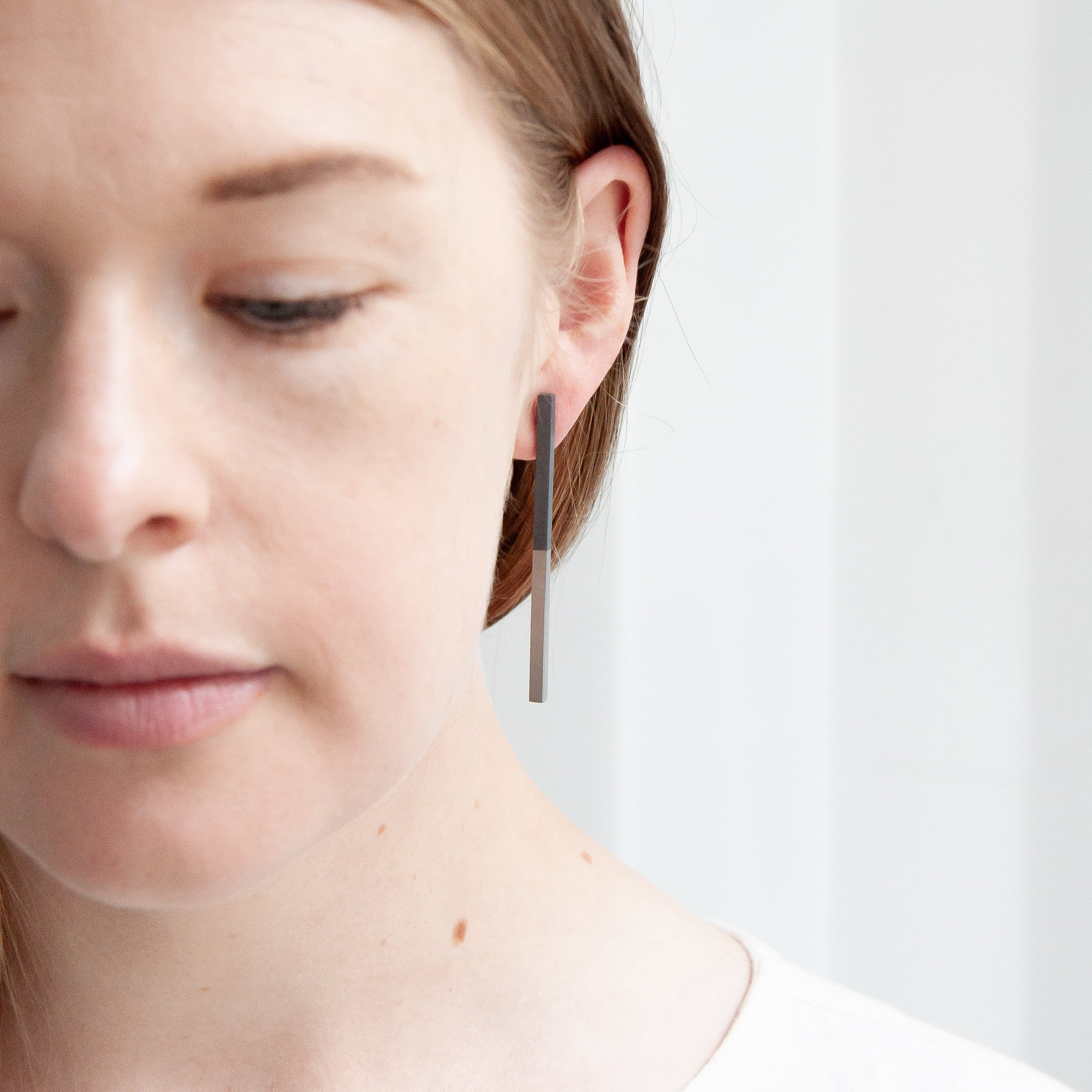 Two Tone Earrings - Oxidised