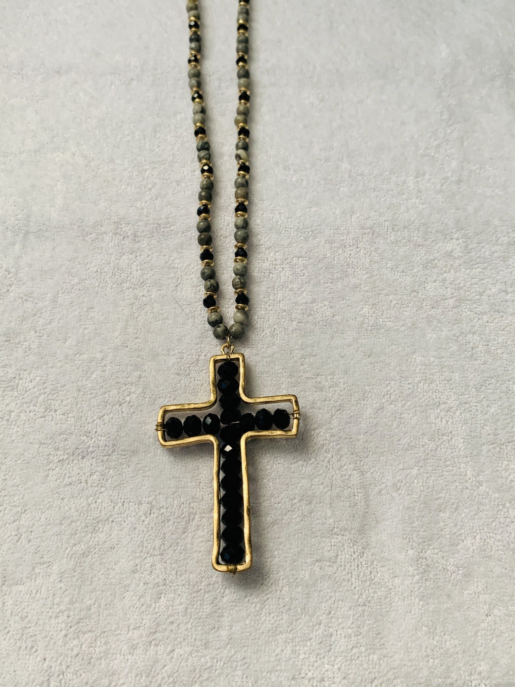 Black Crystal Cross Necklace