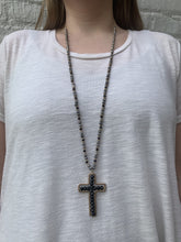 Load image into Gallery viewer, Black Crystal Cross Necklace
