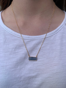 Rectangle Stone Bar Necklace