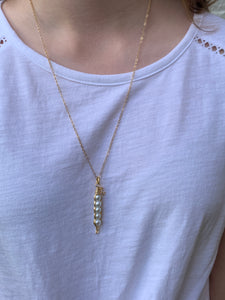 "24"" Gold Pea Pod Necklace"