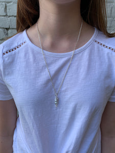 "24"" Silver Pea Pod Necklace"