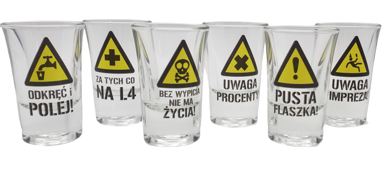 Vodka Glasses with Warning Road Sighs - EuroMax Foods The Good Food Store