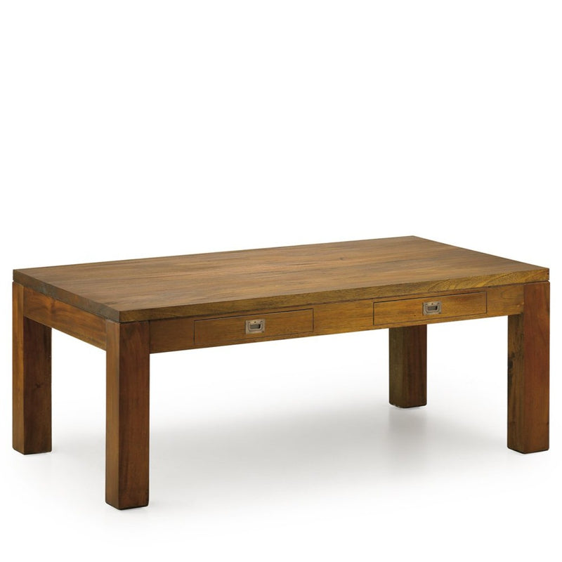 Mahogany Wood 2 Drawers Coffee Table