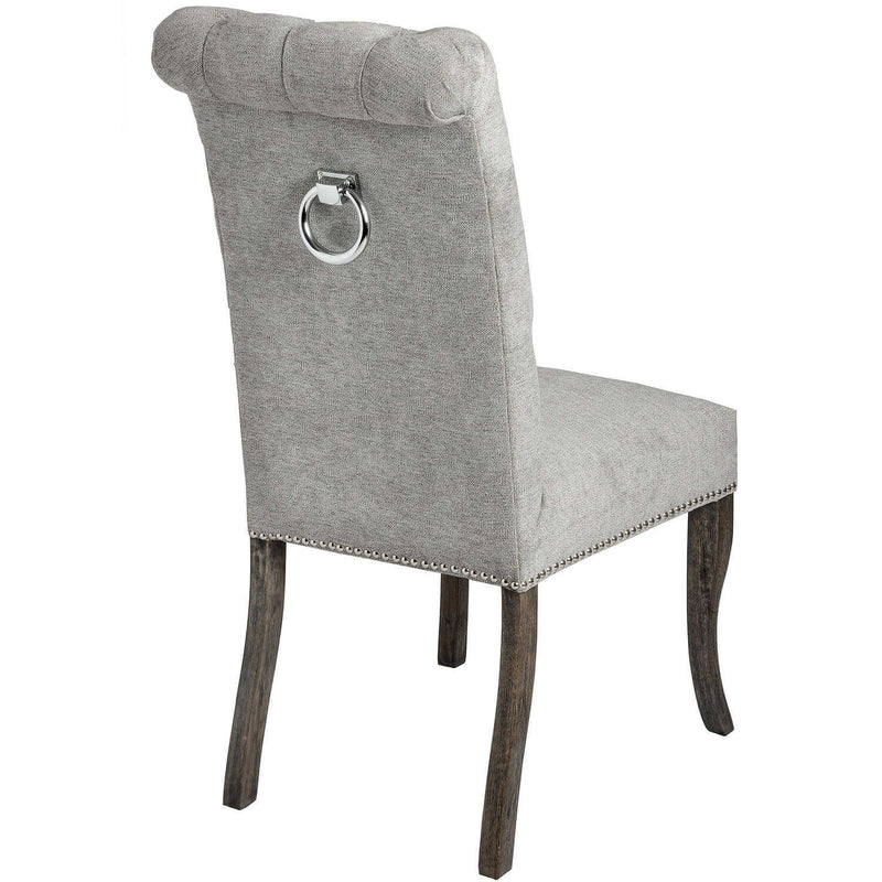 Rubberwood Frame and Upholstered Fabric Seat Chair