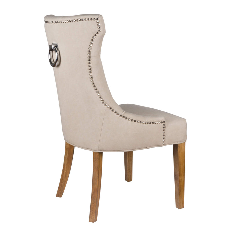 Rubberwood Frame Upholstered Fabric Pullring Chair