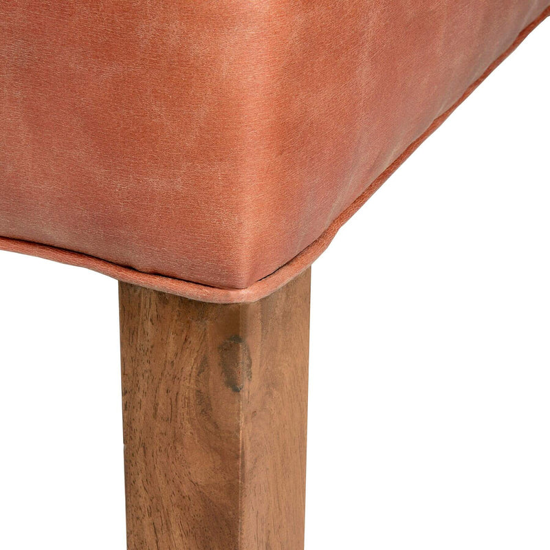 Wooden Base Tan Faux Leather Dining Chair