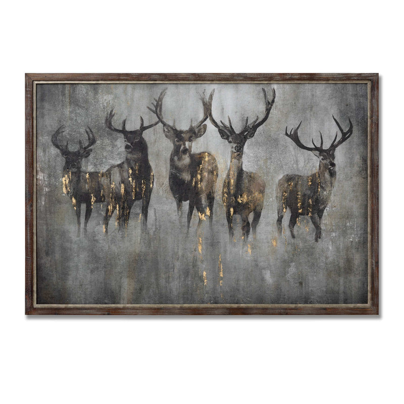 Large Curious Stag Cement Boarding and Wood Painting