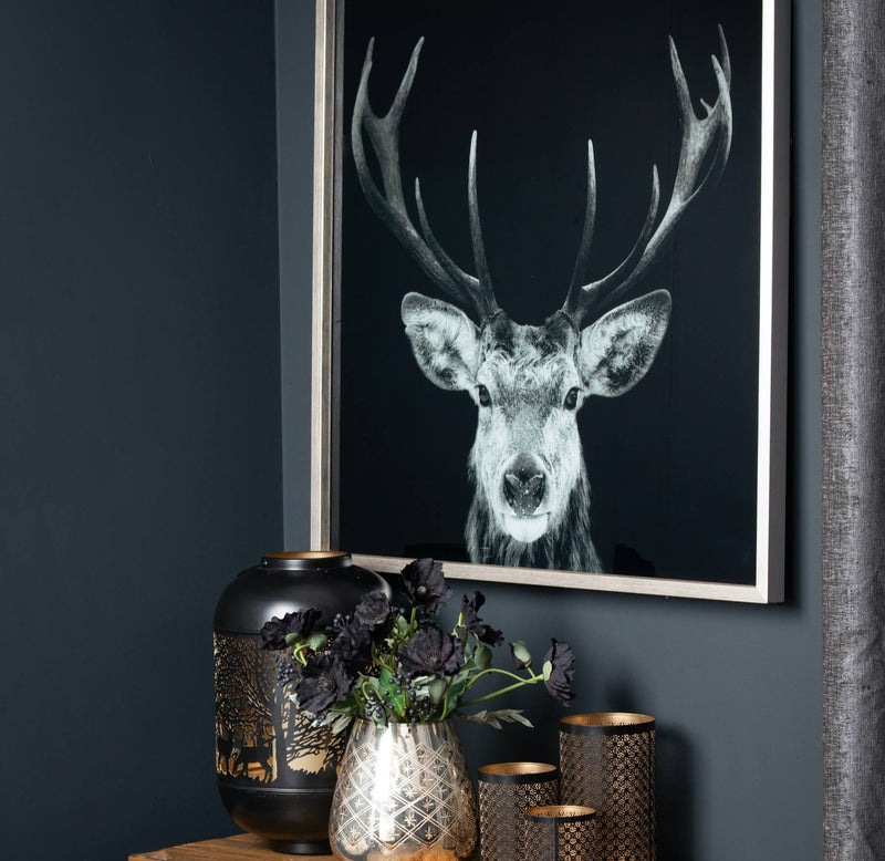 Dark Stag Glass Silver Frame Picture