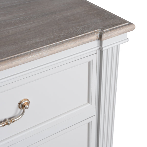 Handcrafted White Grey Painted 6 Drawer Chest