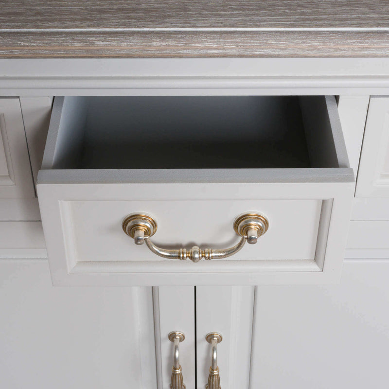 Three Drawer Two Door White Cupboard