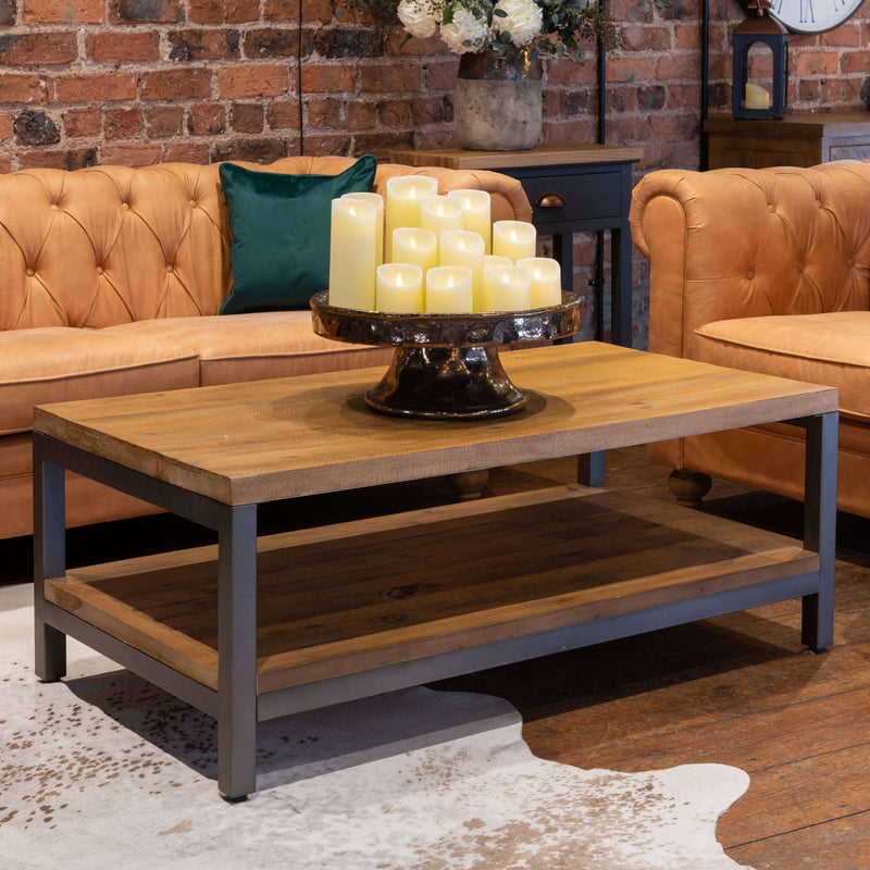 Industrial Coffee Table, Pine