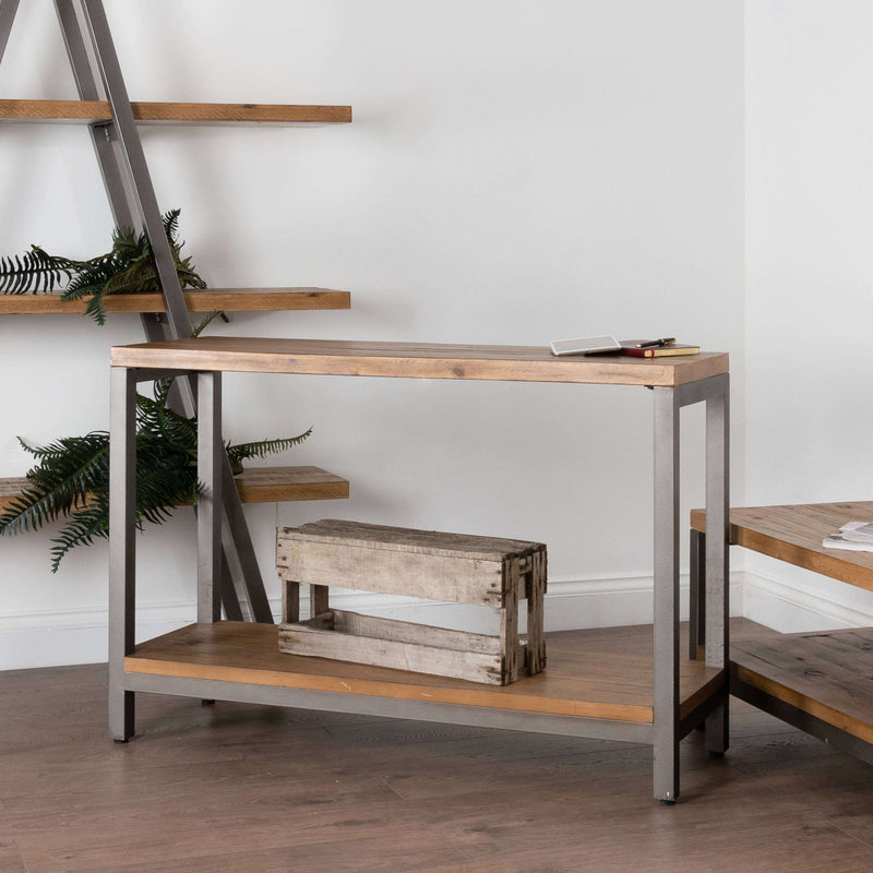 Pine Wood and Metal Display Shelf