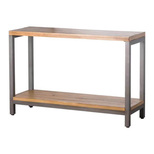 Pine Wood and Metal Console Table
