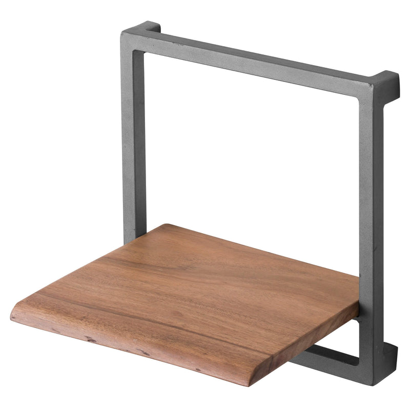 Handcrafted Solid Wood and Metal Square Shelf