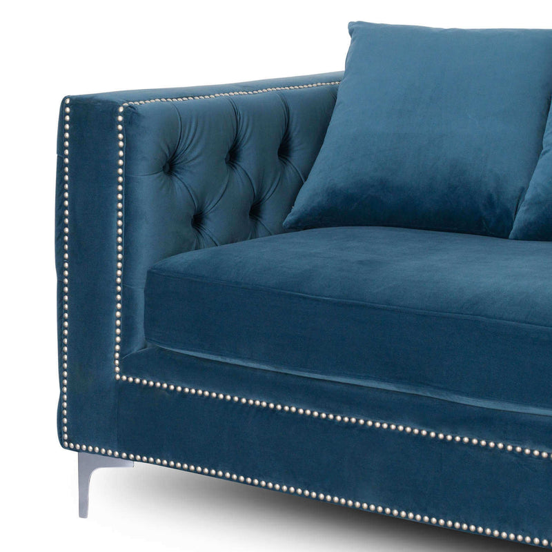 Three Seater Button Press Velvet Sofa