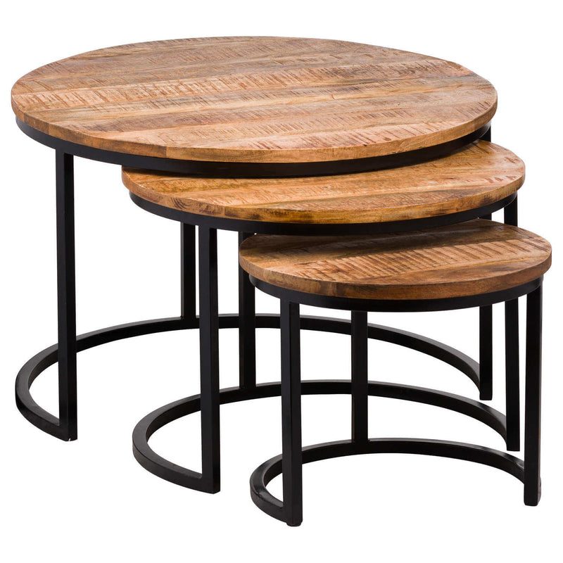 Handcrafted Natural Wooden Tabletop and Metal Base Nest Of Tables