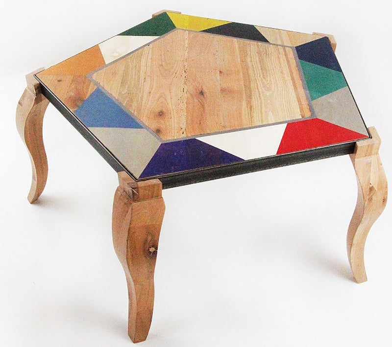 Cherry Wood and Metal Pentagonal Table