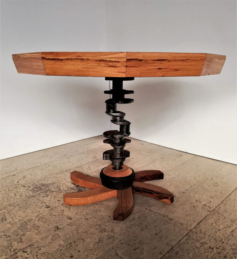 Oak Table With 61 Years Old Saw Blade Top and 37 Years Old Crankshaft Leg