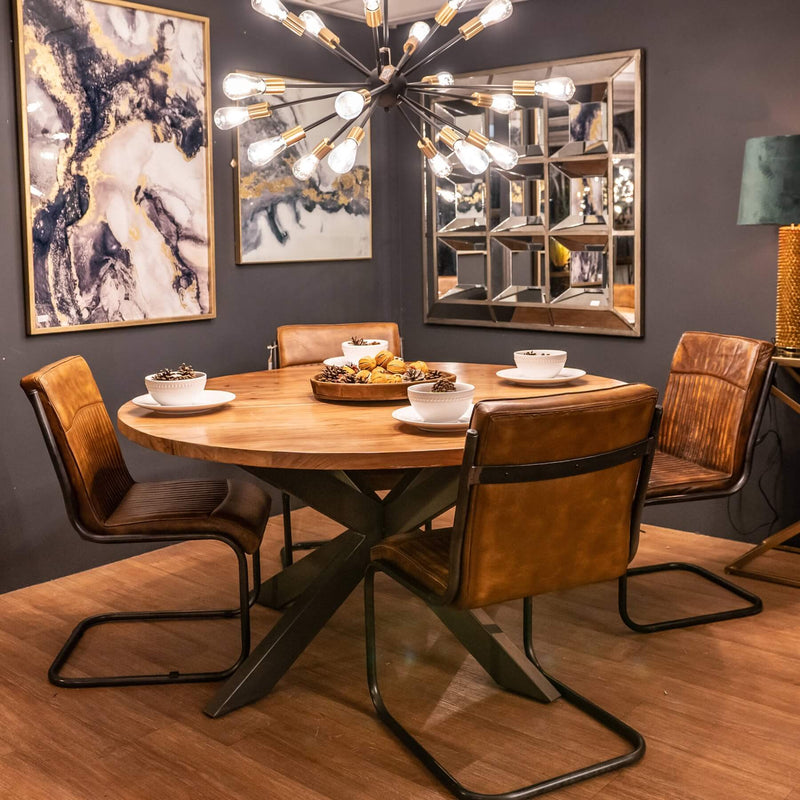 Metal Frame and Leather Dining Chair