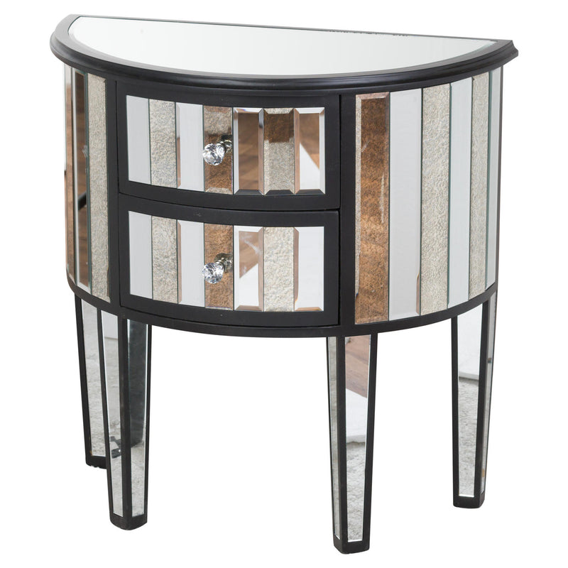 2 Drawers Mirrored Side Table