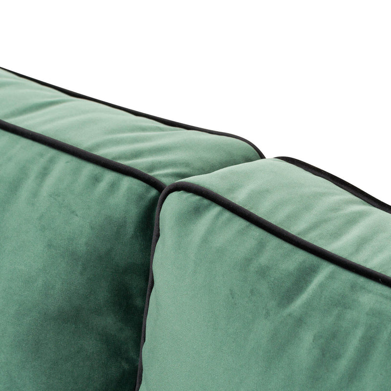 Brass Base Emerald Green 2 Seater Sofa