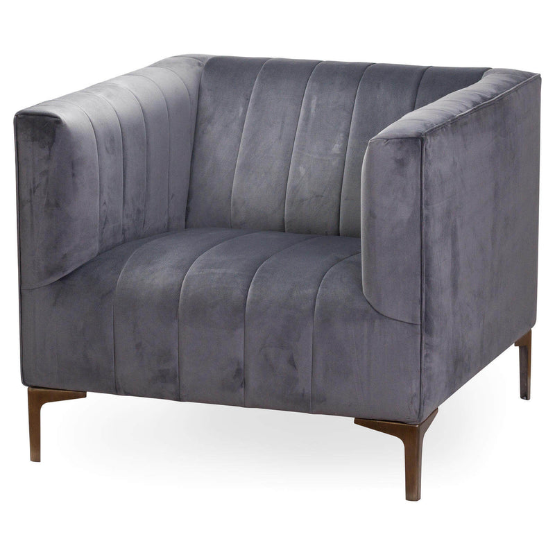 Steel Structure and Grey Velvet Seat Emperor Armchair