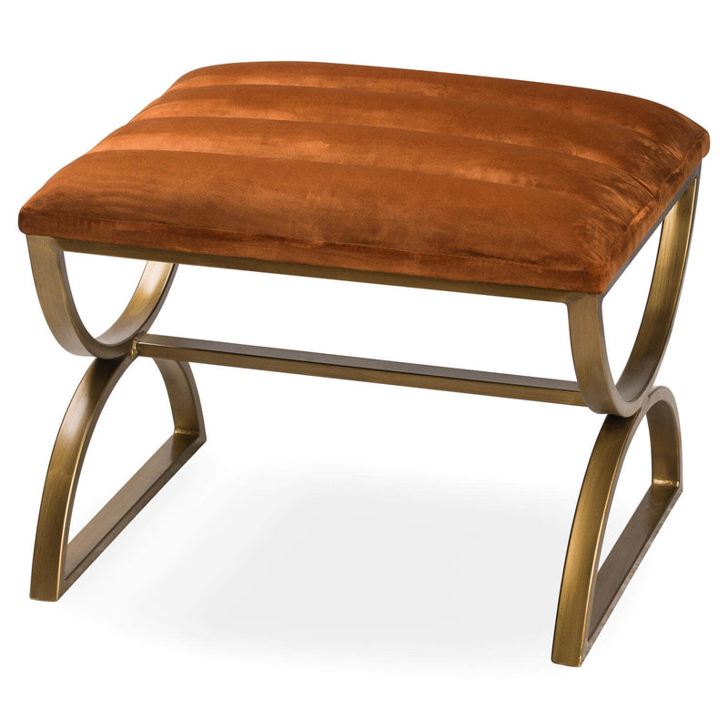 Velvet and Brass Ribbed Footstool