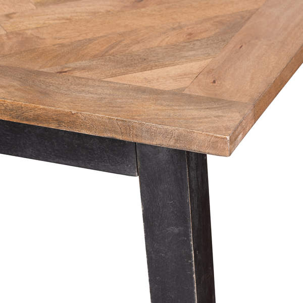 Wooden Tabletop Metal Legs Dining Table