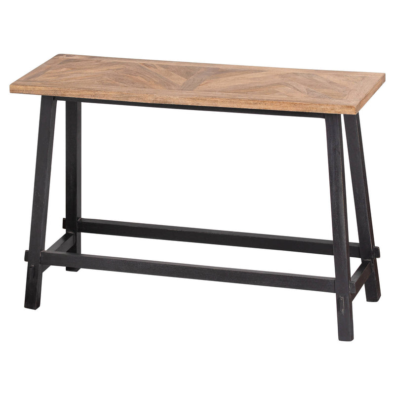 Wooden Tabletop Metal Base Console Table
