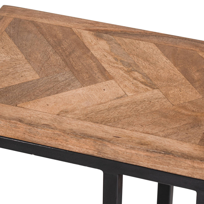 Handcrafted Mango Wood Parquet Tabletop Sofa Table
