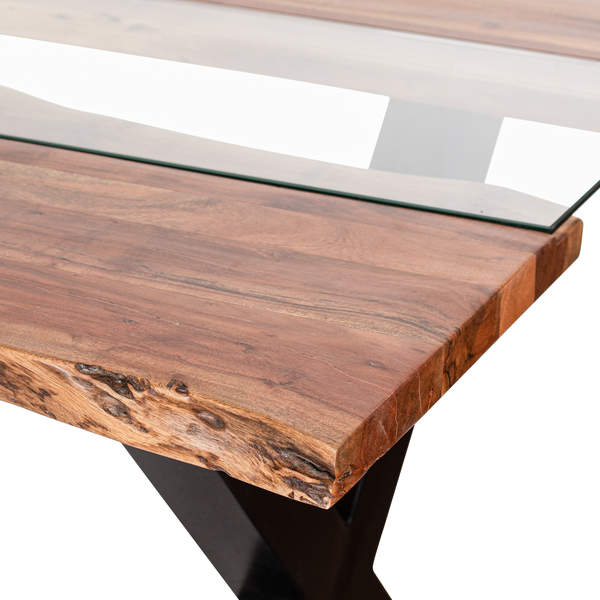 Acacia Wood River Glass Dining Table