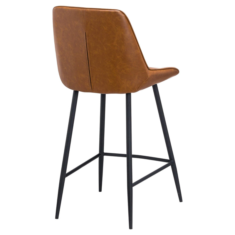 Metal Base and Faux Leather Seat Tan Bar Stool