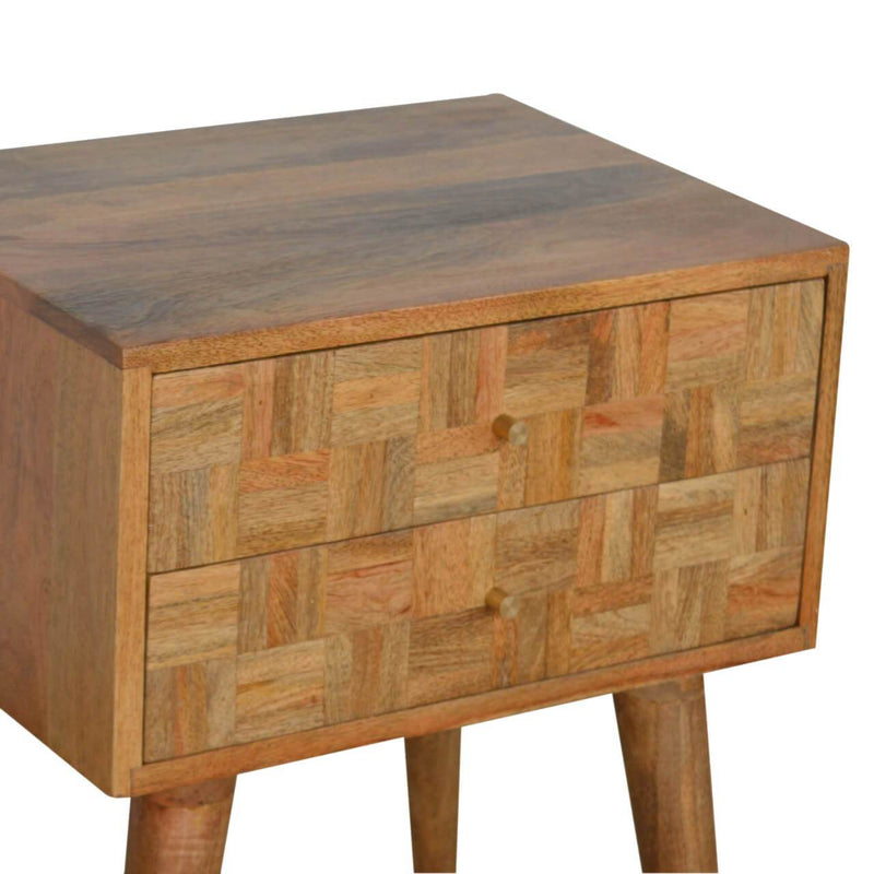 Handcrafted Oak Finish Assorted Bedside With 2 Drawers - HM_FURNITURE