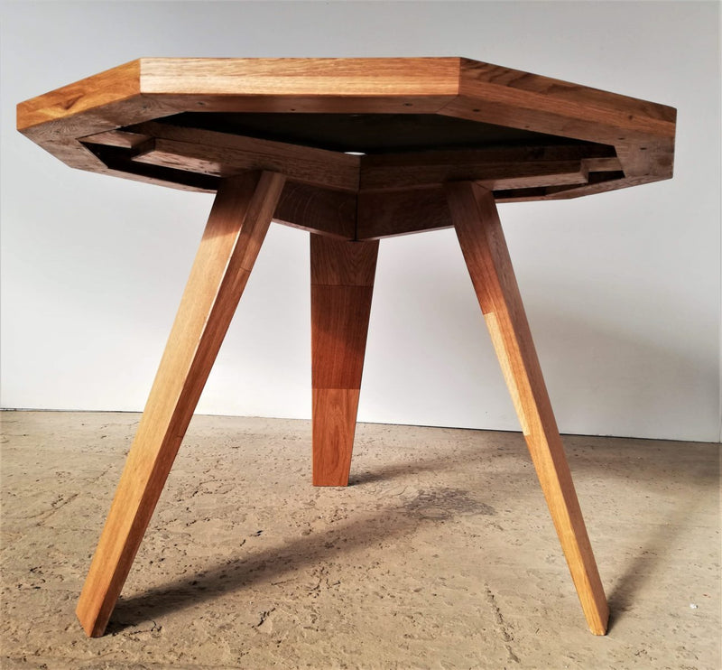 Handcrafted Unique Design Oak Table With 73 Years Old Blade Saw Top