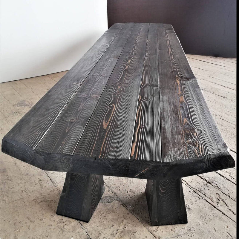 Handcrafted Vintage Solid Wood Live Edge Table